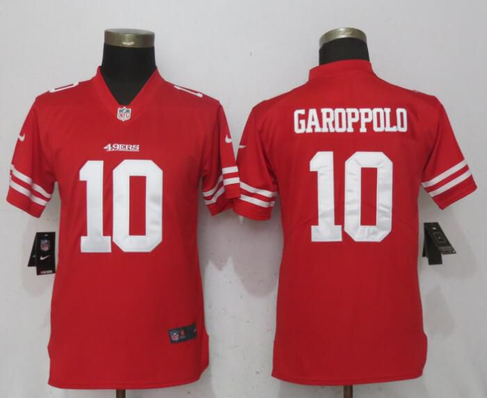 Women San Francisco 49ers 10 Garoppolo Red Vapor Untouchable NFL Jerseys
