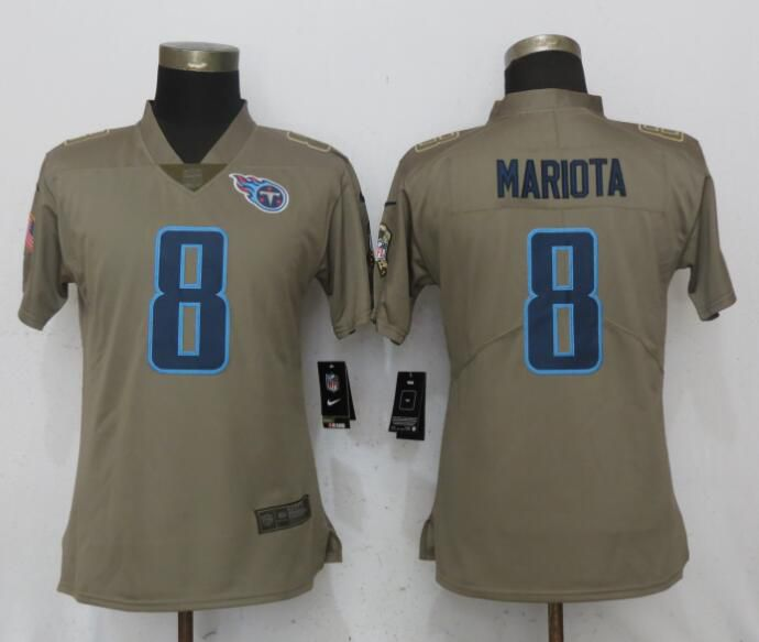 Women Tennessee Titans 8 Mariota Olive Salute To Service New Nike Elite NFL Jerseys