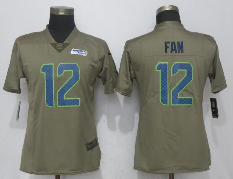 Women Seattle Seahawks 12 Fan Olive Salute To Service New Nike Elite NFL Jerseys