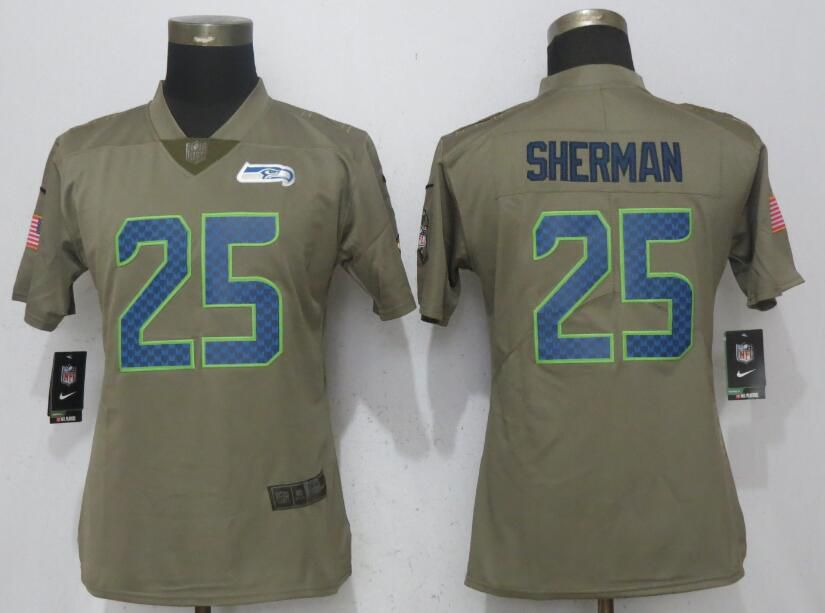 Women Seattle Seahawks 25 Sherman Olive Salute To Service New Nike Elite NFL Jerseys