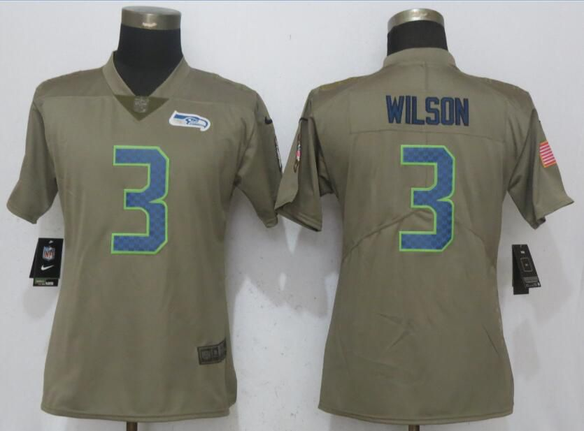 Women Seattle Seahawks 3 Wilson Olive Salute To Service New Nike Elite NFL Jerseys