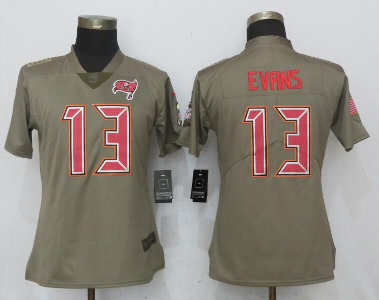 Women Tampa Bay Buccaneers 13 Evans Olive Salute To Service New Nike Elite NFL Jerseys