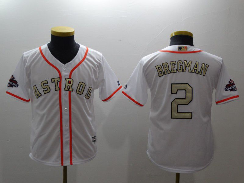 Youth Houston Astros 2 Bregman White Gold version MLB Jerseys