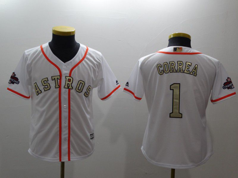 Youth Houston Astros 1 Correa White Gold version MLB Jerseys