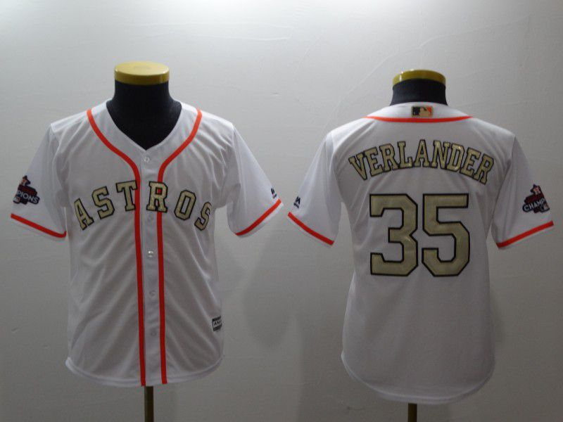 Youth Houston Astros 35 Verlander White Gold version MLB Jerseys