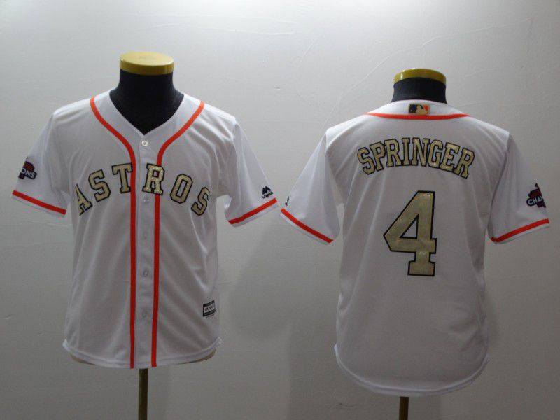 Youth Houston Astros 4 Springer White Gold version MLB Jerseys