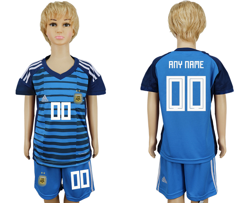2018 World Cup Argentina Lake blue kids goalkeeper customized soccer jersey
