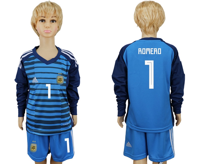 2018 World Cup Argentina Lake blue kids goalkeeper long sleeve 1 soccer jersey