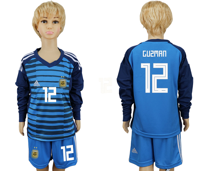 2018 World Cup Argentina Lake blue kids goalkeeper long sleeve 12 soccer jersey