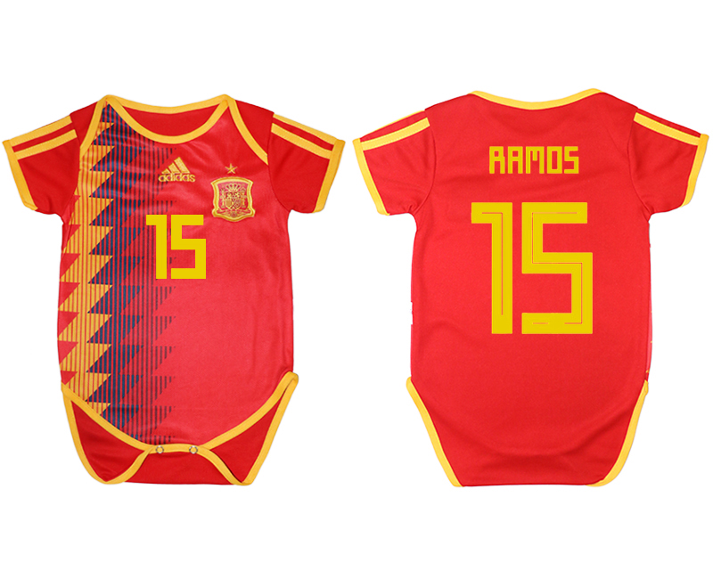 2018 World Cup Espana home baby clothes 15 red soccer jersey