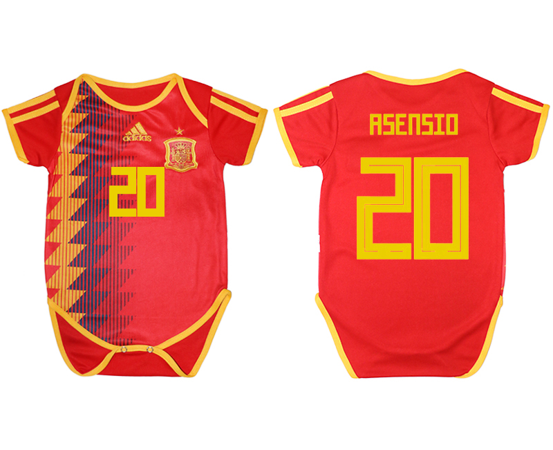 2018 Coupe du monde Espana maison bébé vêtements 20 rouge football jersey