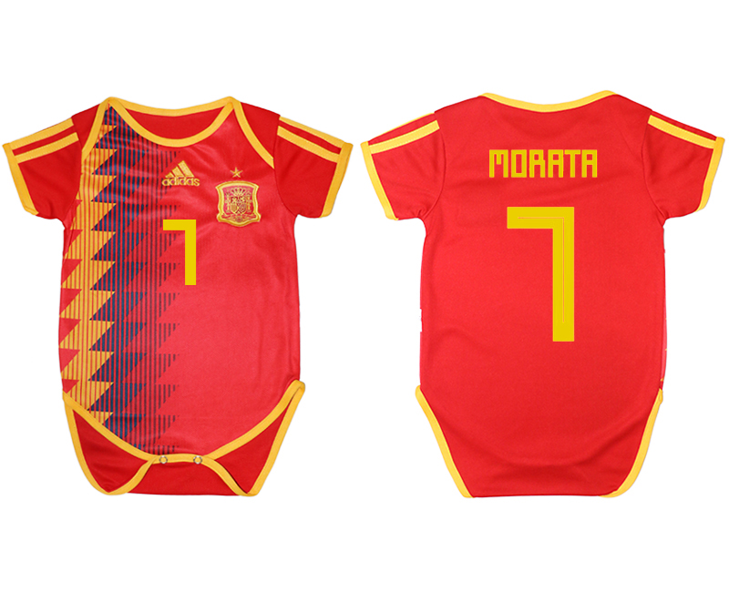 2018 World Cup Espana home baby clothes 7 red soccer jersey