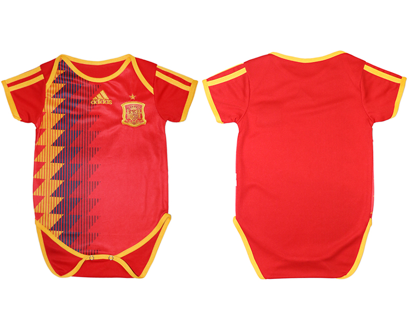 2018 World Cup Espana home baby clothes red soccer jersey