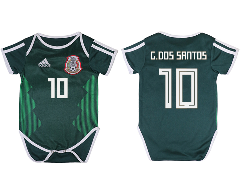 2018 World Cup Mexico home baby clothes 10 green soccer jersey