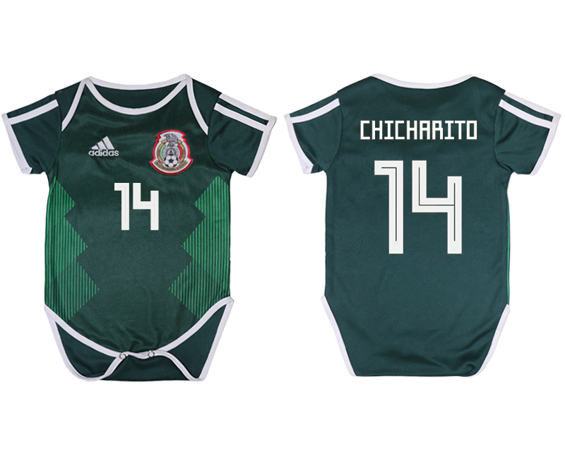2018 World Cup Mexico home baby clothes 14 green soccer jersey