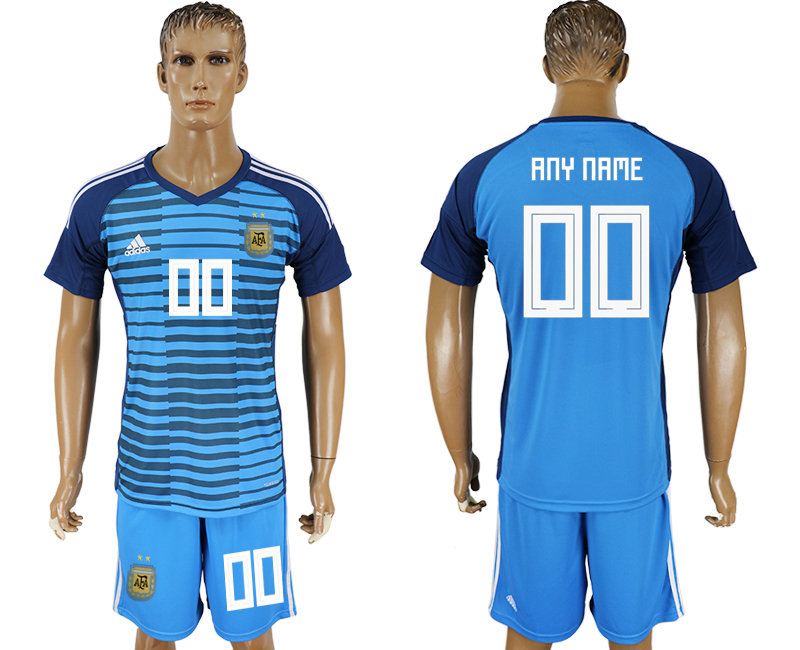 Men 2018 World Cup Argentina Lake blue goalkeeper customized soccer jersey