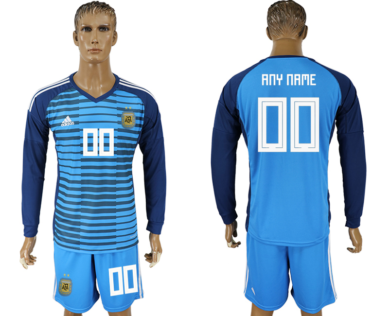Men 2018 World Cup Argentina Lake blue goalkeeper long sleeve customized soccer jersey