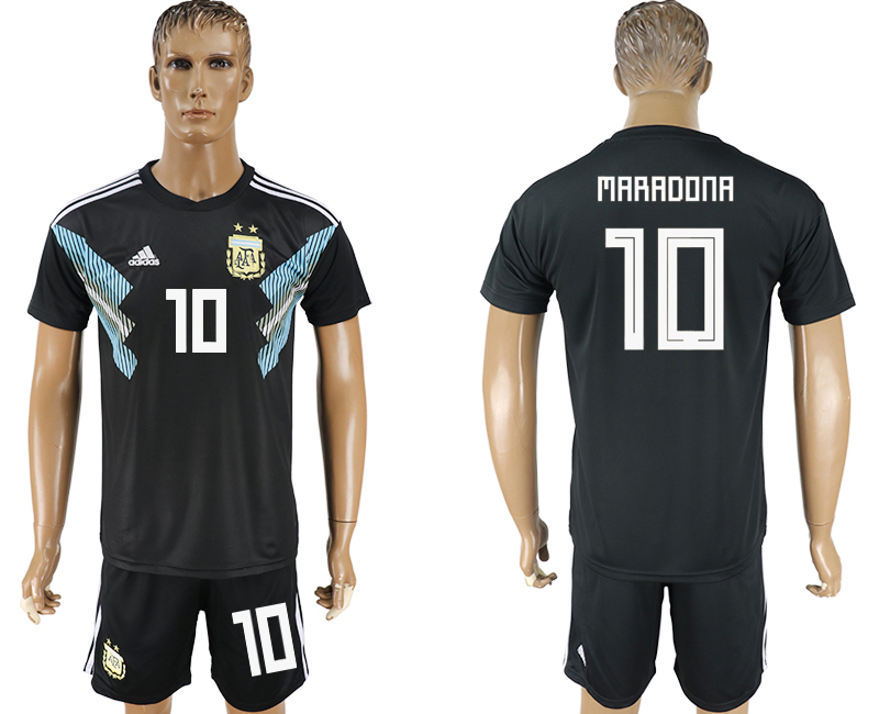 Men 2018 World Cup Argentina away 10 black soccer jersey