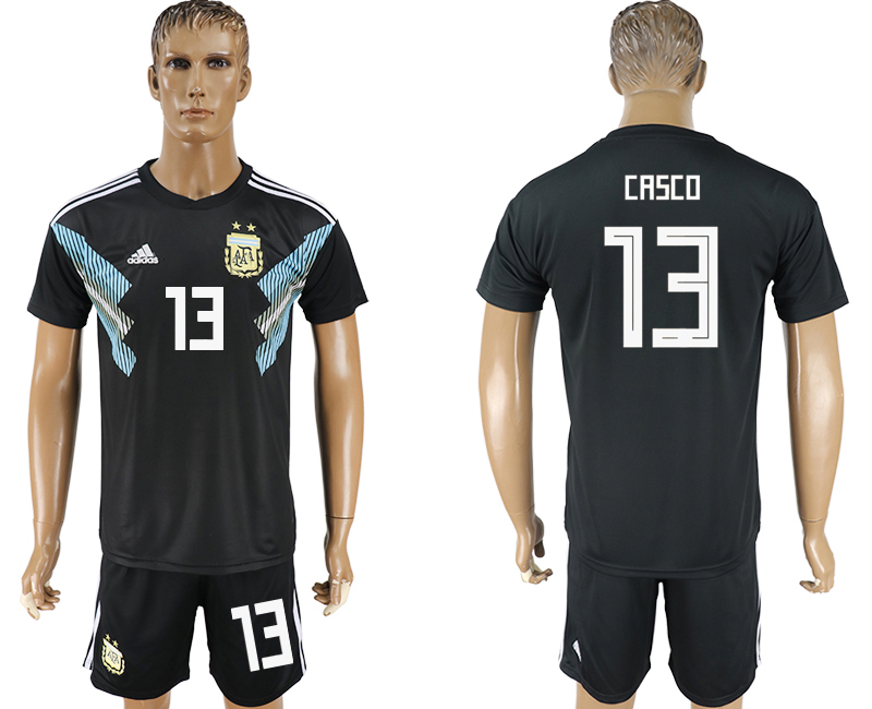 Men 2018 World Cup Argentina away 13 black soccer jersey