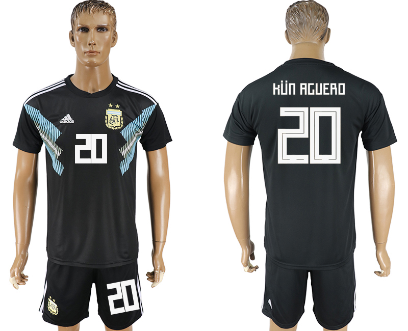 Men 2018 World Cup Argentina away 20 black soccer jersey