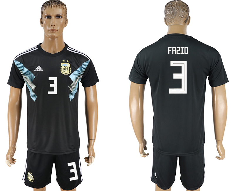Men 2018 World Cup Argentina away 3 black soccer jersey