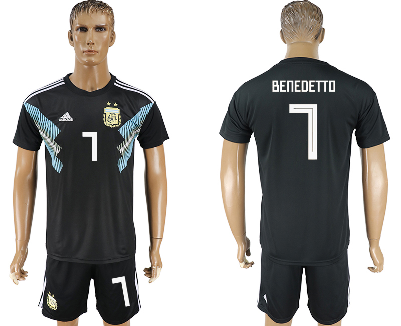 Men 2018 World Cup Argentina away 7 black soccer jersey