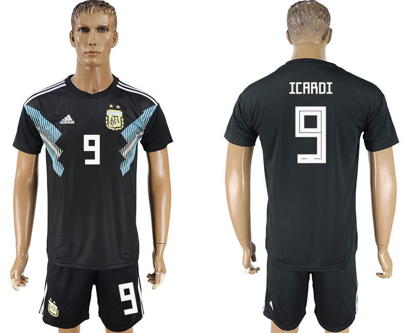 Men 2018 World Cup Argentina away 9 black soccer jersey2
