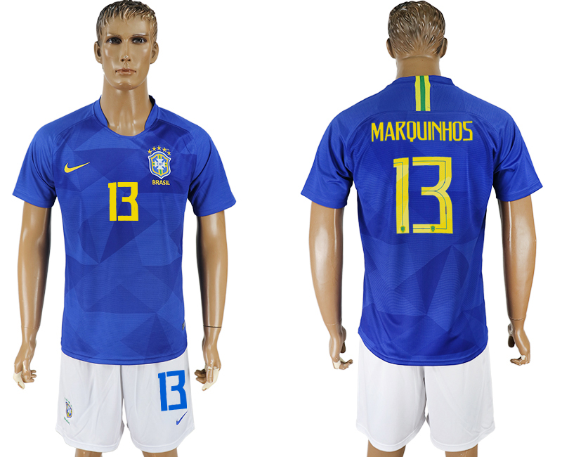 Men 2018 World Cup Brazil away 13 blue soccer jersey