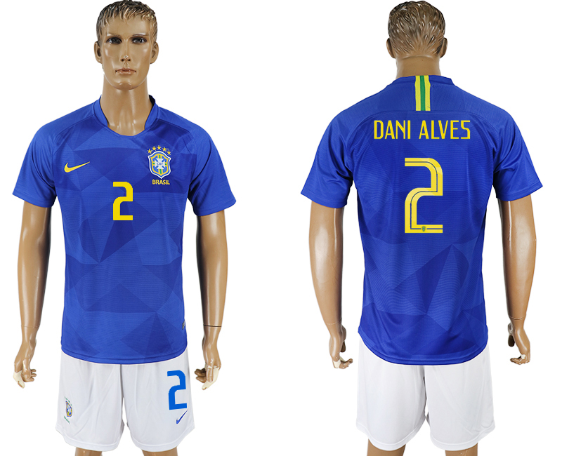 Men 2018 World Cup Brazil away 2 blue soccer jersey