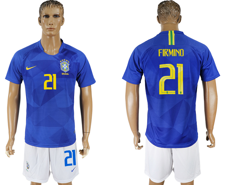 Men 2018 World Cup Brazil away 21 blue soccer jersey