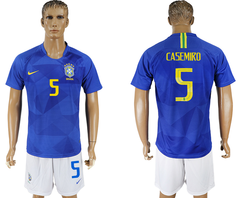 Men 2018 World Cup Brazil away 5 blue soccer jersey