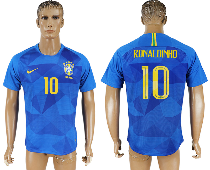 Men 2018 World Cup Brazil away aaa version 10 blue soccer jersey