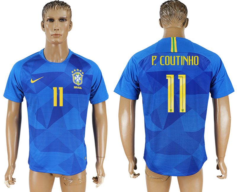 Men 2018 World Cup Brazil away aaa version 11 blue soccer jersey