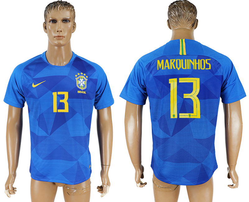 Men 2018 World Cup Brazil away aaa version 13 blue soccer jersey