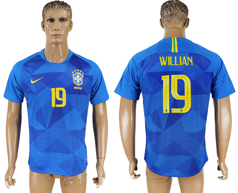 Men 2018 World Cup Brazil away aaa version 19 blue soccer jersey