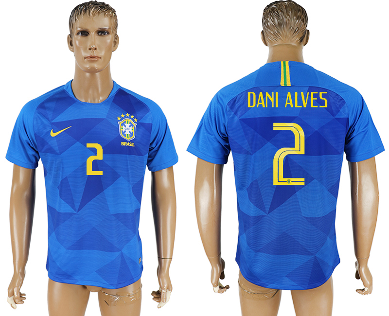 Men 2018 World Cup Brazil away aaa version 2 blue soccer jersey