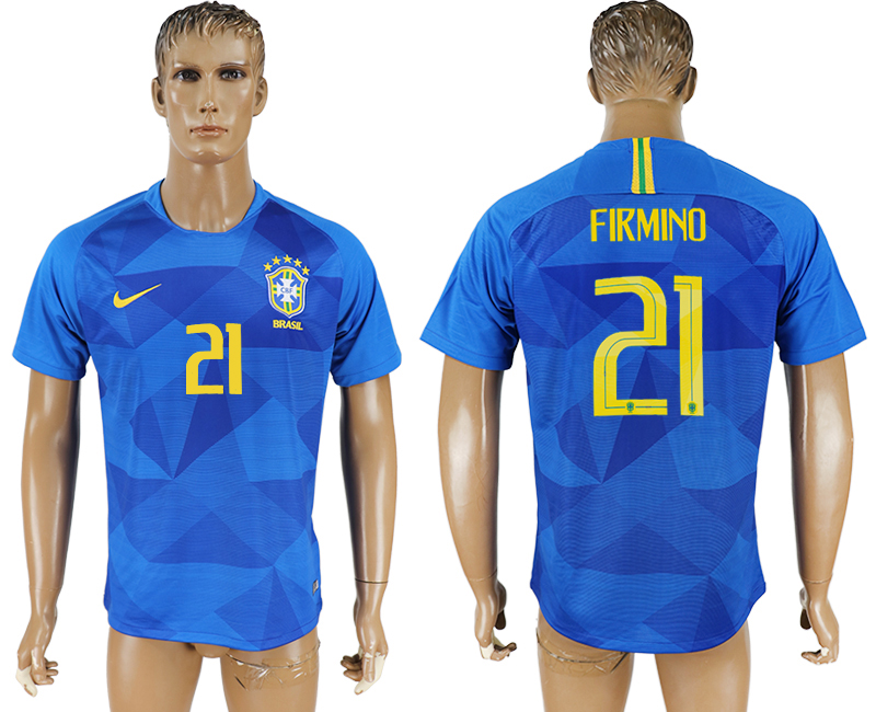 Men 2018 World Cup Brazil away aaa version 21 blue soccer jersey