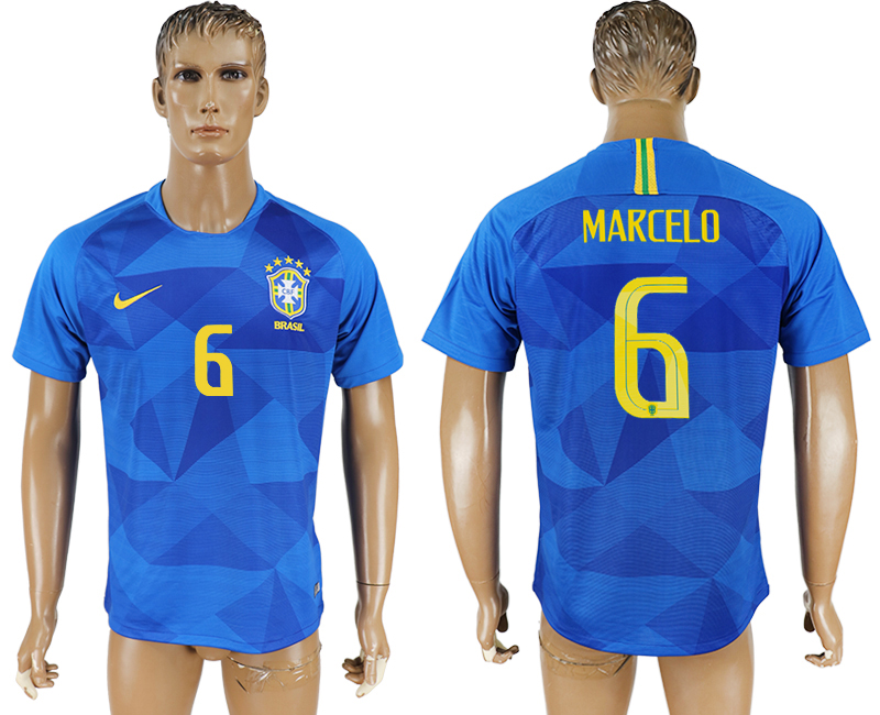 Men 2018 World Cup Brazil away aaa version 6 blue soccer jersey