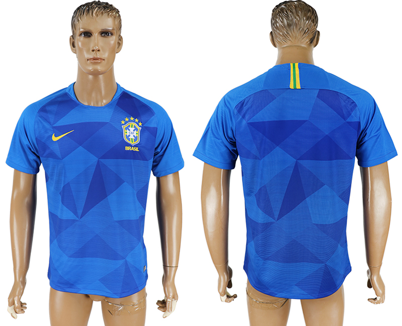 Men 2018 World Cup Brazil away aaa version blue soccer jersey