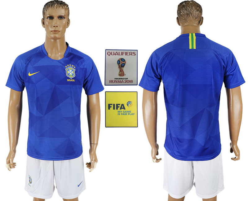 Men 2018 World Cup Brazil away blue soccer jersey