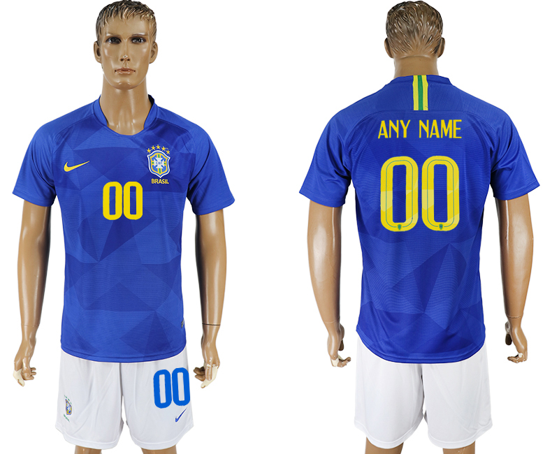 Men 2018 World Cup Brazil away customized blue soccer jersey