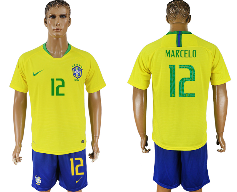 Men 2018 World Cup Brazil home 12 yellow soccer jersey