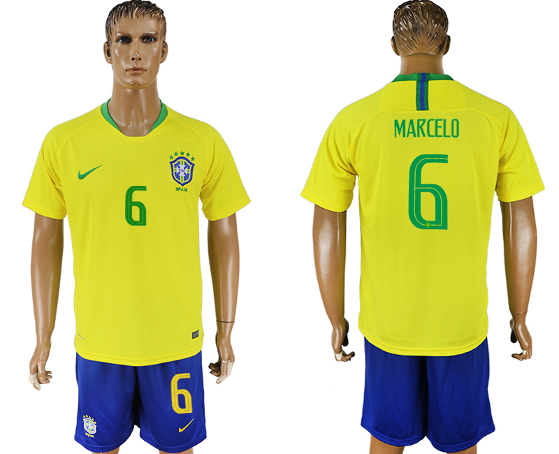 Men 2018 World Cup Brazil home 6 yellow soccer jersey