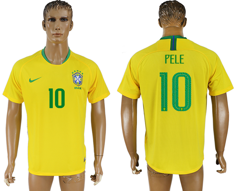 Men 2018 World Cup Brazil home aaa version 10 yellow soccer jersey2