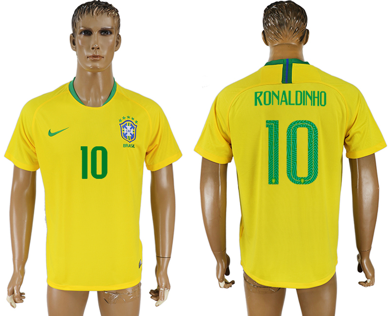 Men 2018 World Cup Brazil home aaa version 10 yellow soccer jersey3