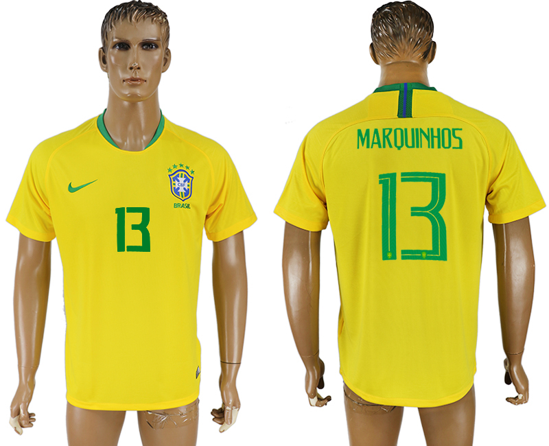 Men 2018 World Cup Brazil home aaa version 13 yellow soccer jersey