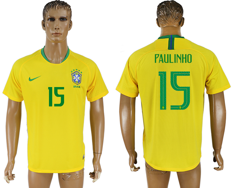 Men 2018 World Cup Brazil home aaa version 15 yellow soccer jersey