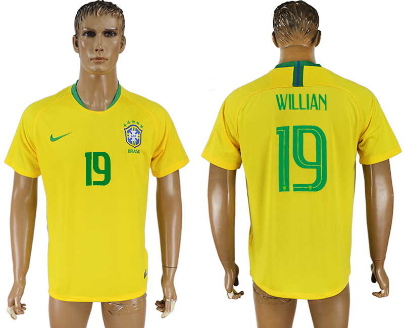 Men 2018 World Cup Brazil home aaa version 19 yellow soccer jersey