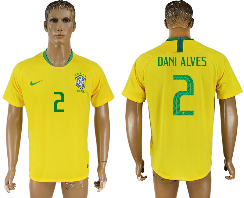 Men 2018 World Cup Brazil home aaa version 2 yellow soccer jersey