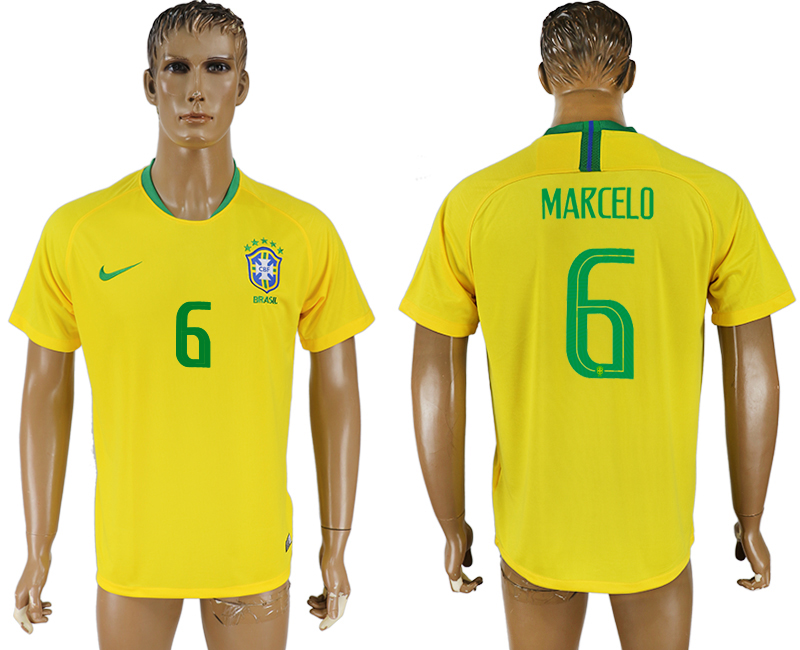 Men 2018 World Cup Brazil home aaa version 6 yellow soccer jersey